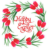 Happy Easter Text inside watercolor Tulips wreath on white backg