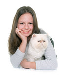 white persian cat and teenager