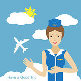 Stewardess woman smiling