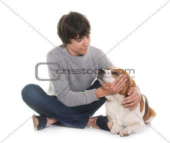beagle and teenager