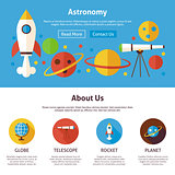 Astronomy Science Flat Web Design Template
