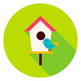 Birdhouse with Bird Circle Icon