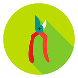 Garden Secateur Tool Circle Icon