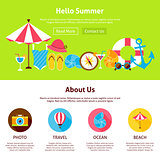 Hello Summer Flat Web Design Template