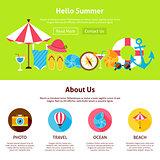 Hello Summer Flat Web Design Template