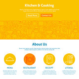 Kitchen and Cooking Line Art Web Design Template
