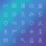 Law and Crime Line Icons Set over Blurred Background