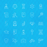 Law and Justice Line Icons Set over Polygonal Background