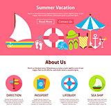 Summer Vacation Flat Web Design Template