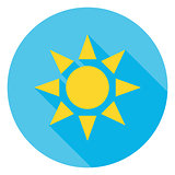 Sun over Blue Sky Circle Icon