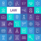 Vector Line Art Law and Justice Icons Set