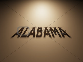 3D Rendering of a Shadow Text that reads Alabama