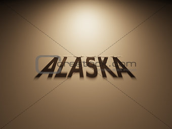 3D Rendering of a Shadow Text that reads Alaska