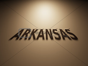 3D Rendering of a Shadow Text that reads Arkansas