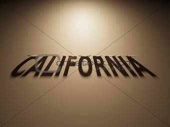 3D Rendering of a Shadow Text that reads California