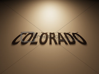 3D Rendering of a Shadow Text that reads Colorado