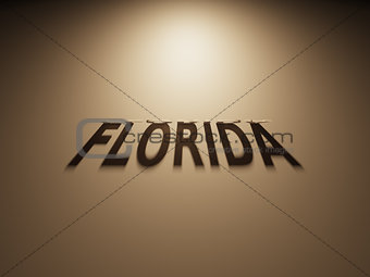 3D Rendering of a Shadow Text that reads Florida