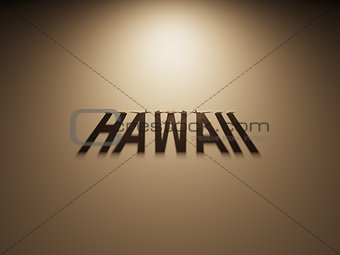 3D Rendering of a Shadow Text that reads Hawaii