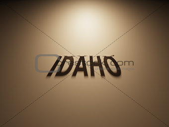 3D Rendering of a Shadow Text that reads Idaho