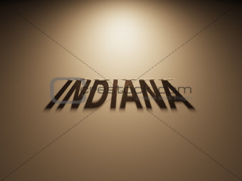 3D Rendering of a Shadow Text that reads Indiana