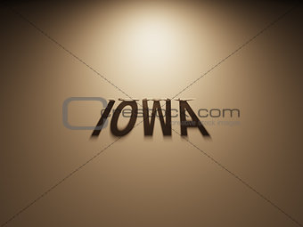 3D Rendering of a Shadow Text that reads Iowa