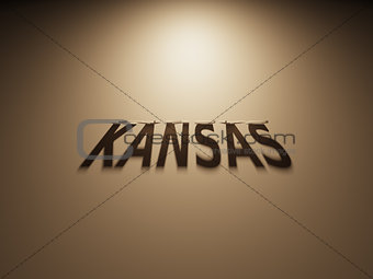 3D Rendering of a Shadow Text that reads Kansas