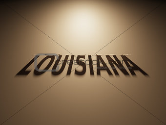 3D Rendering of a Shadow Text that reads Louisiana