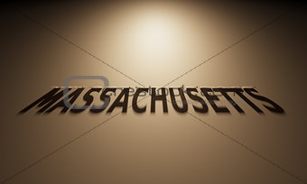 3D Rendering of a Shadow Text that reads Massachusetts