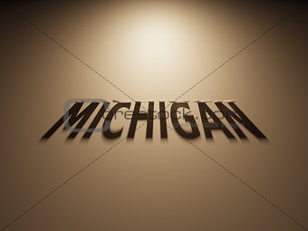 3D Rendering of a Shadow Text that reads Michigan