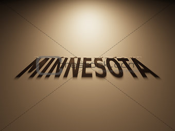 3D Rendering of a Shadow Text that reads Minnesota