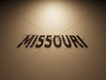 3D Rendering of a Shadow Text that reads Missouri