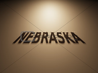 3D Rendering of a Shadow Text that reads Nebraska