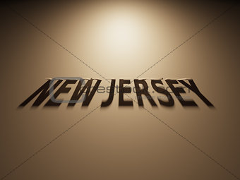 3D Rendering of a Shadow Text that reads New Jersey