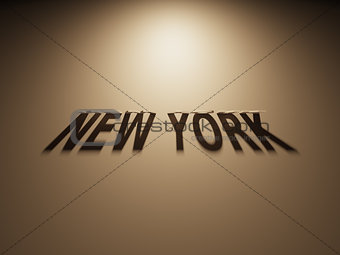 3D Rendering of a Shadow Text that reads New York