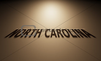 3D Rendering of a Shadow Text that reads North Carolina