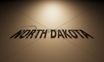 3D Rendering of a Shadow Text that reads North Dakota