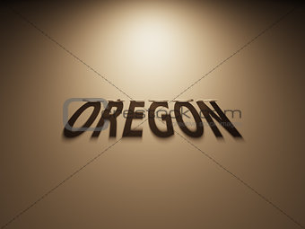 3D Rendering of a Shadow Text that reads Oregon