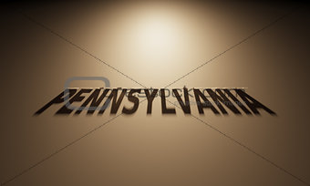 3D Rendering of a Shadow Text that reads Pennsylvania
