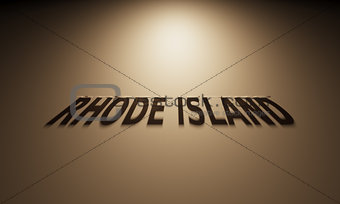 3D Rendering of a Shadow Text that reads Rhode Island