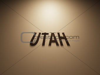 3D Rendering of a Shadow Text that reads Utah