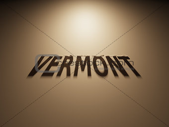 3D Rendering of a Shadow Text that reads Vermont