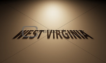3D Rendering of a Shadow Text that reads West Virginia