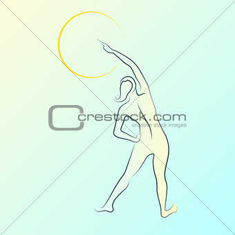 Abstract outline background with beautiful young woman standing back.