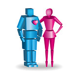illustration of 3d couple in fully scalable hugging