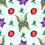 Butterfly Flower Garden Seamless Pattern