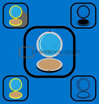Powder box icons set