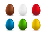 Set of realistic easter eggs isolated on white