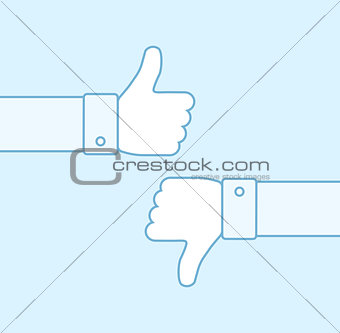 Thumbs up and thumbs down line icons