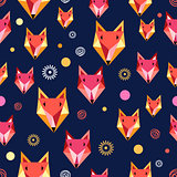 Seamless pattern with fox portrait