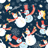 Seamless graphic pattern of Christmas snowman